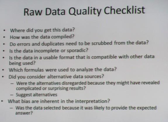 Raw Data Quality Checklist